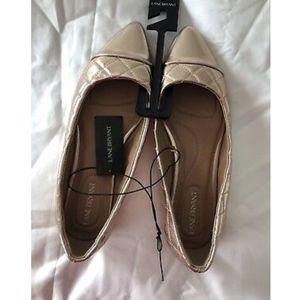 NWT Lane Bryant Rose Gold/ Gold Quilted Flats 10W